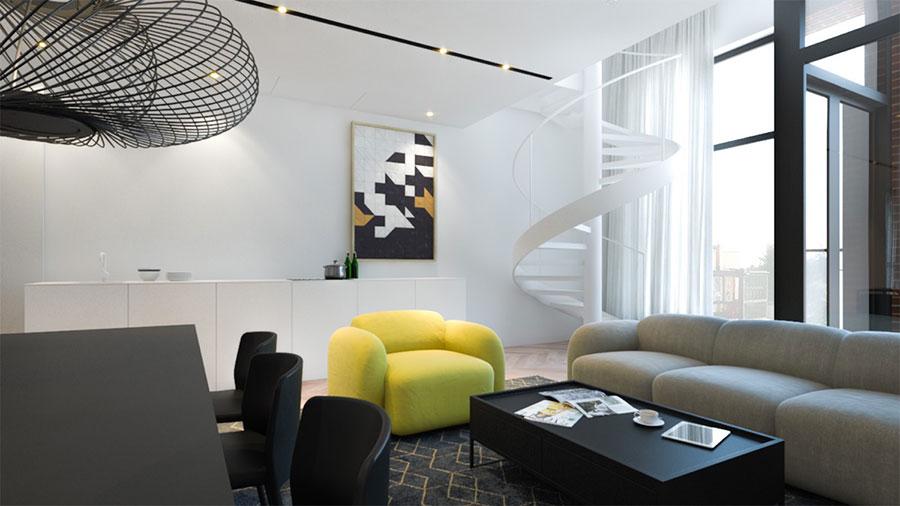 Esempio di arredo di design con il giallo per il living n.09