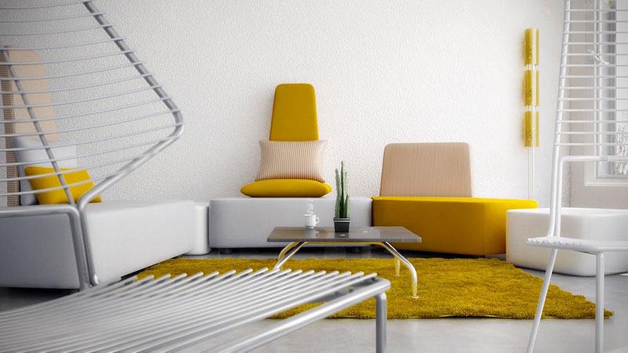 Esempio di arredo di design con il giallo per il living n.10
