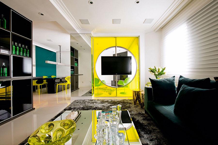 Esempio di arredo di design con il giallo per il living n.11