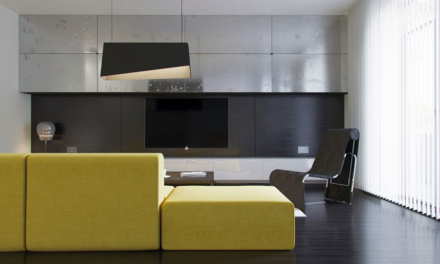 Esempio di arredo di design con il giallo per il living n.13