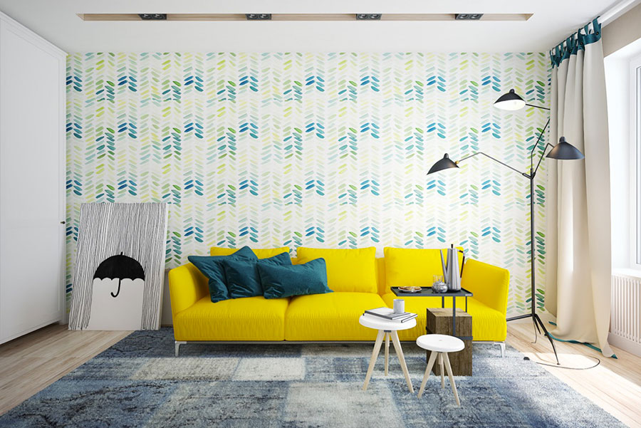 Esempio di arredo di design con il giallo per il living n.14