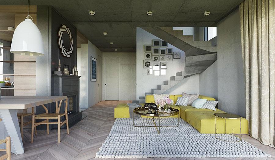 Esempio di arredo di design con il giallo per il living n.18