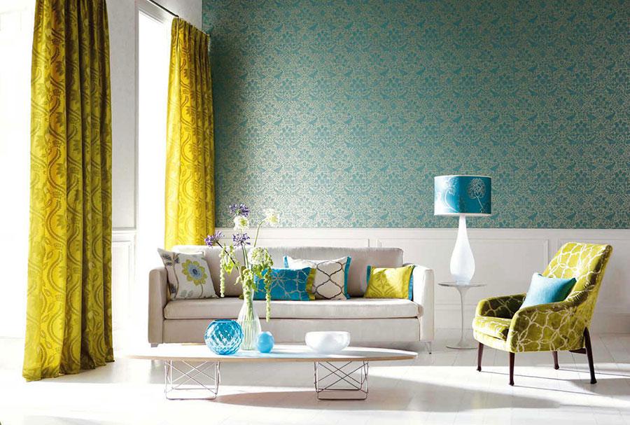 Esempio di arredo di design con il giallo per il living n.19