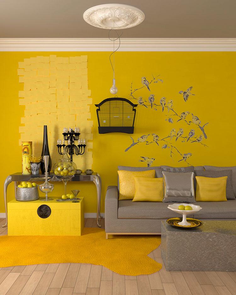 Esempio di arredo di design con il giallo per il living n.20
