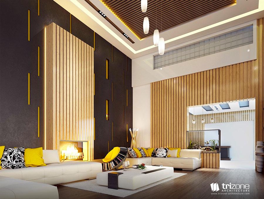 Esempio di arredo di design con il giallo per il living n.21