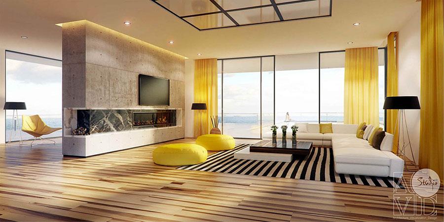 Esempio di arredo di design con il giallo per il living n.22