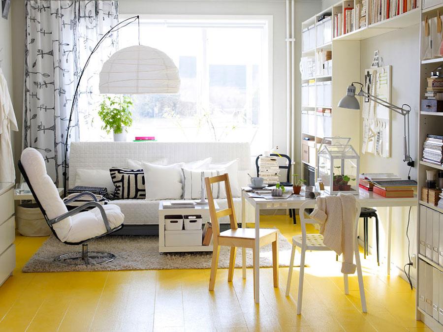 Esempio di arredo di design con il giallo per il living n.24