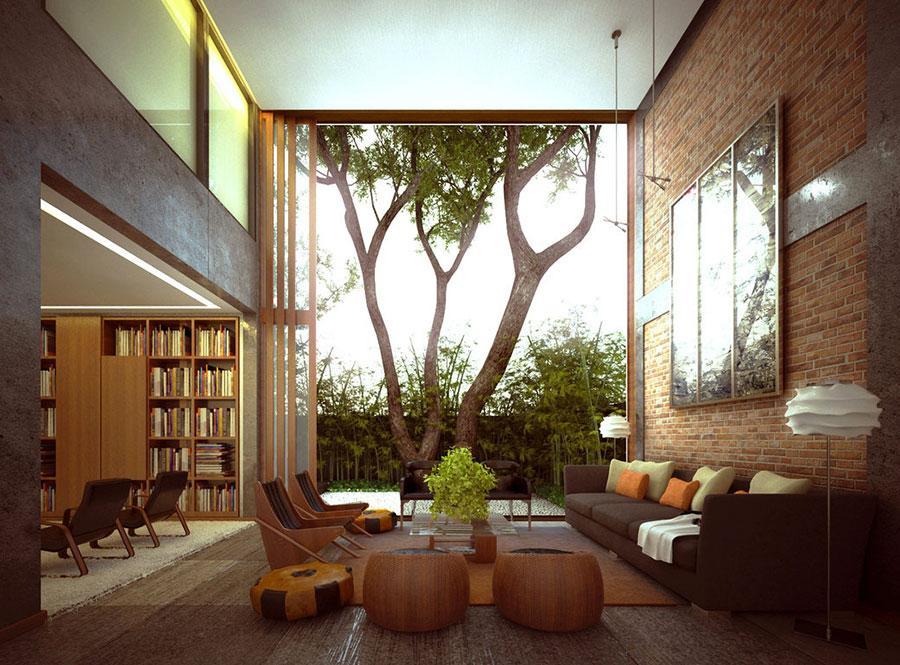 Modello di salotto con pareti con mattoni a vista n.02