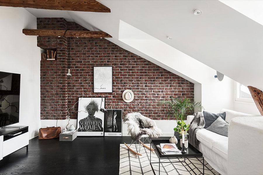 Modello di salotto con pareti con mattoni a vista n.04