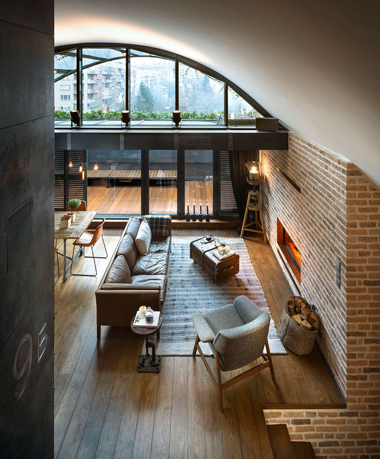 Modello di salotto con pareti con mattoni a vista n.05