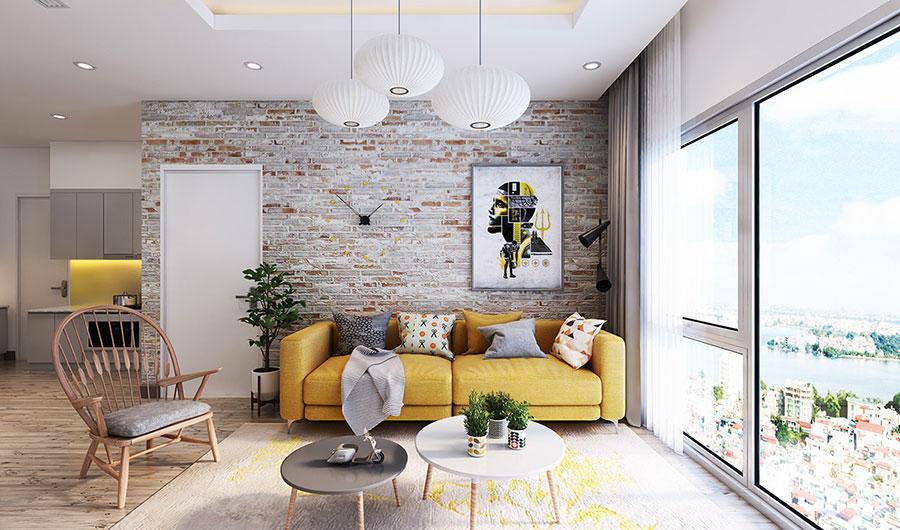 Modello di salotto con pareti con mattoni a vista n.07
