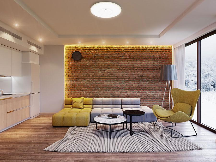 Modello di salotto con pareti con mattoni a vista n.09