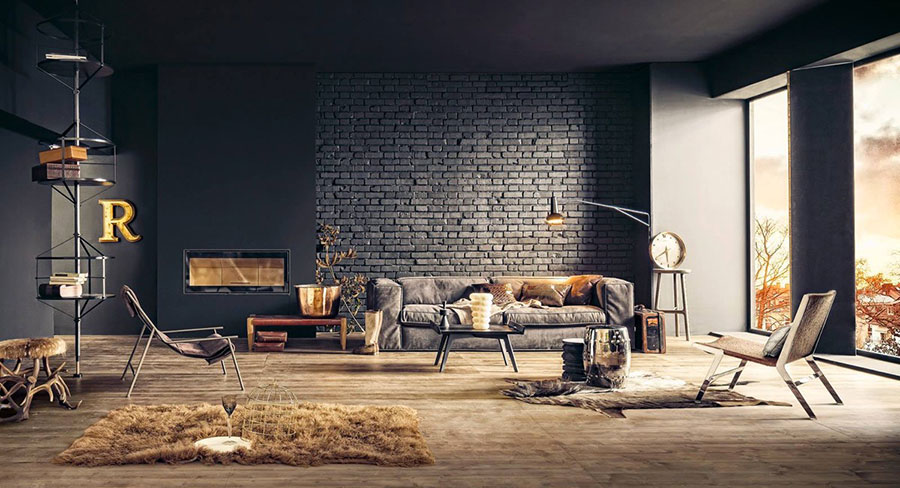 Modello di salotto con pareti con mattoni a vista n.10