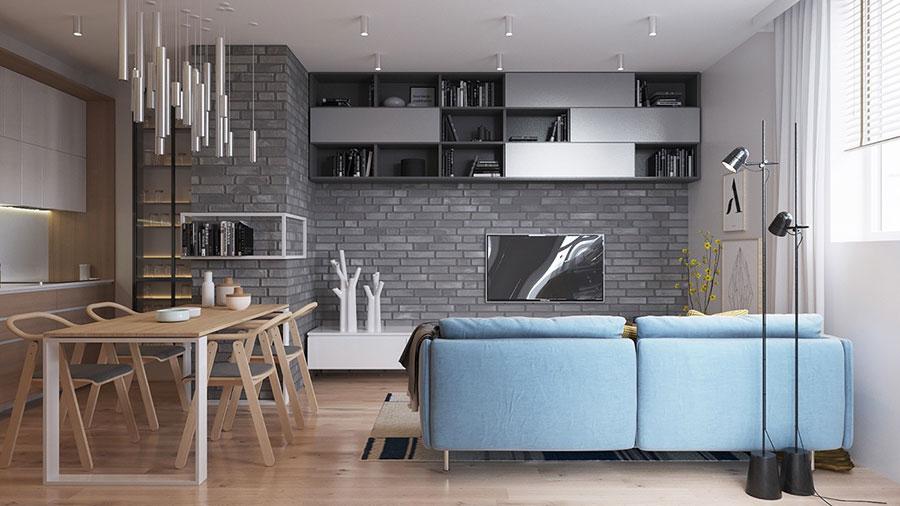 Modello di salotto con pareti con mattoni a vista n.11