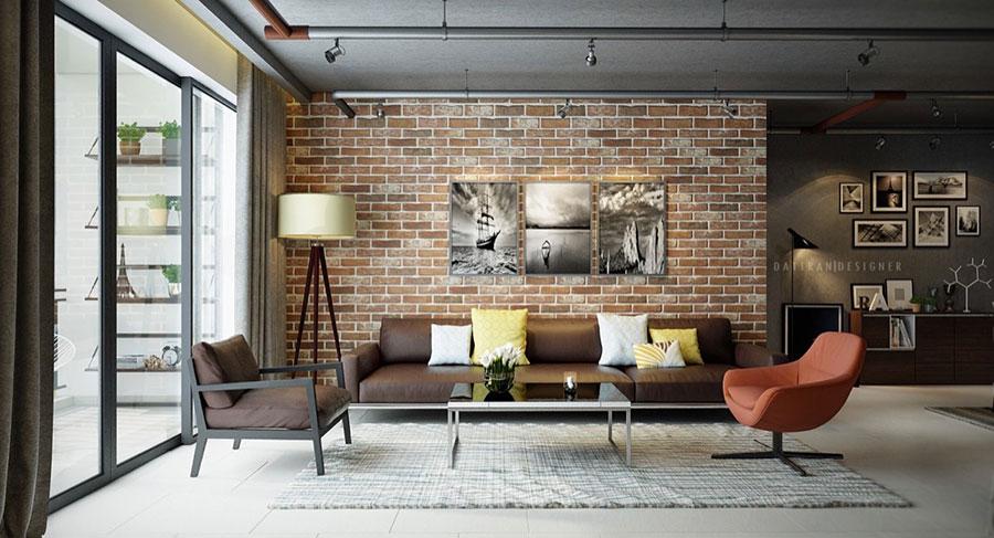 Modello di salotto con pareti con mattoni a vista n.12