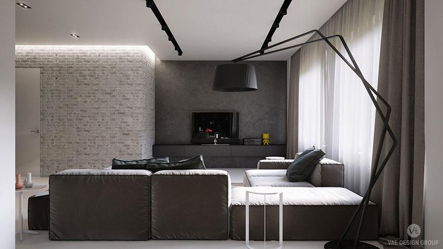 Modello di salotto con pareti con mattoni a vista n.14