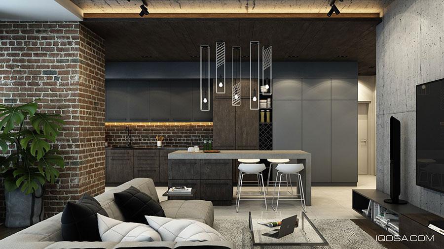 Modello di salotto con pareti con mattoni a vista n.16