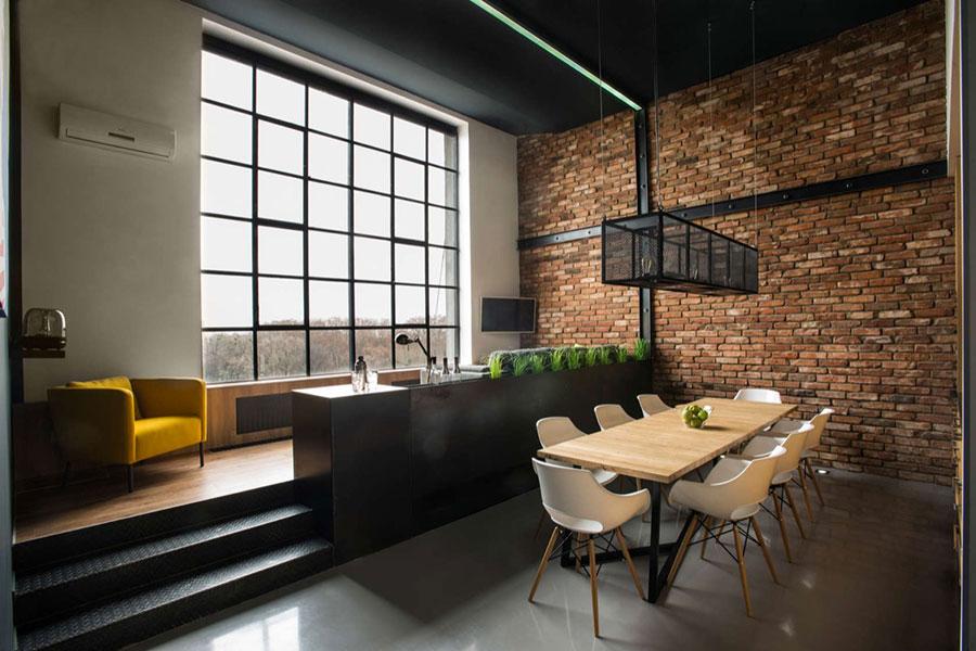 Modello di salotto con pareti con mattoni a vista n.18