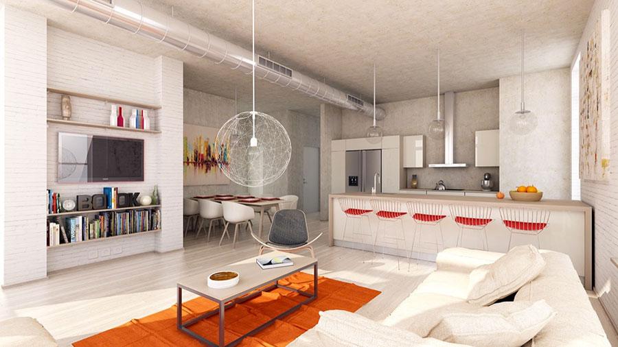 Modello di salotto con pareti con mattoni a vista n.19