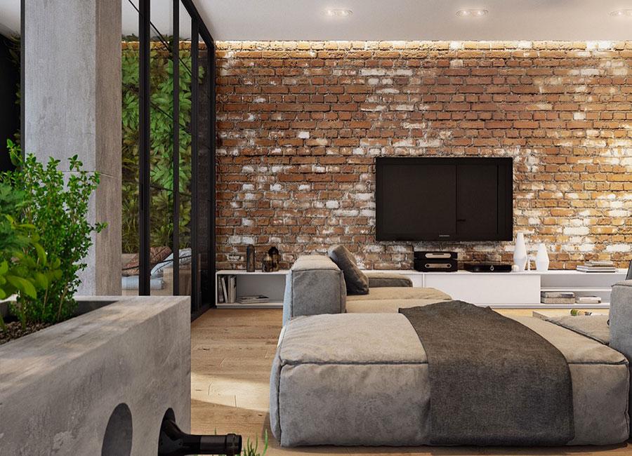 Modello di salotto con pareti con mattoni a vista n.20