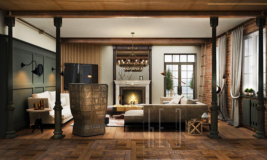 Modello di salotto con pareti con mattoni a vista n.22
