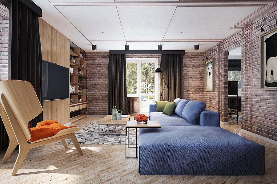 Modello di salotto con pareti con mattoni a vista n.24