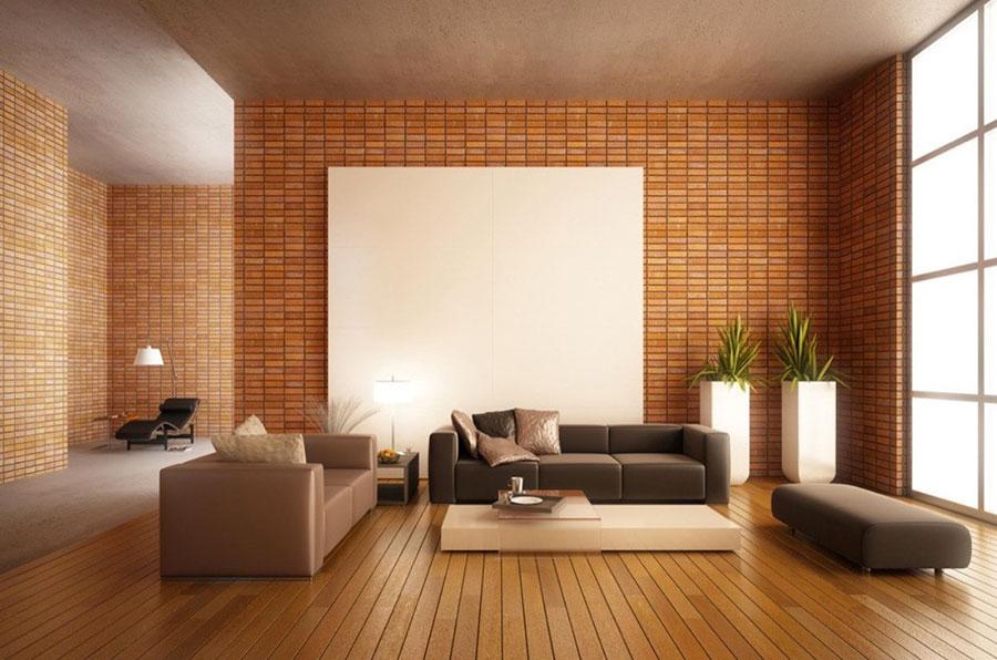 Modello di salotto con pareti con mattoni a vista n.25