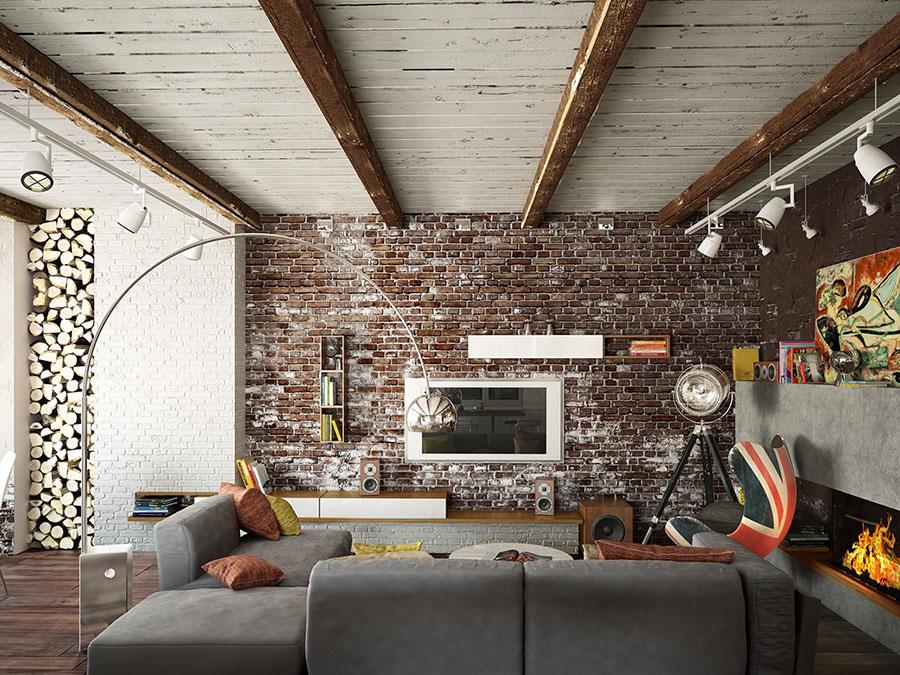 Modello di salotto con pareti con mattoni a vista n.26