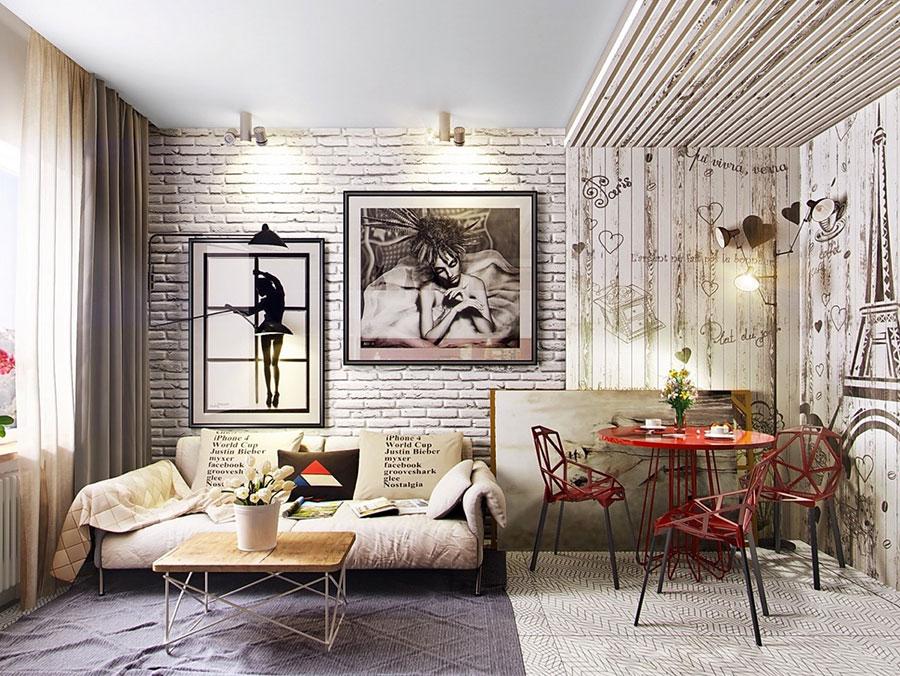Modello di salotto con pareti con mattoni a vista n.28