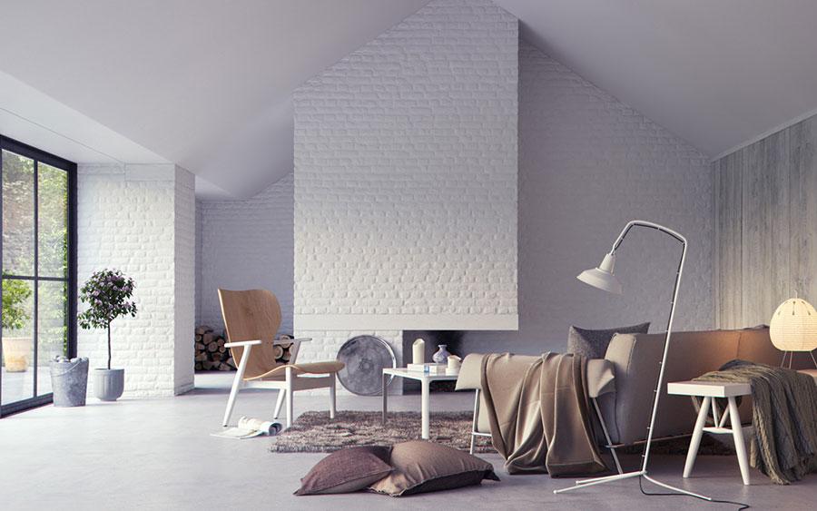 Modello di salotto con pareti con mattoni a vista n.30