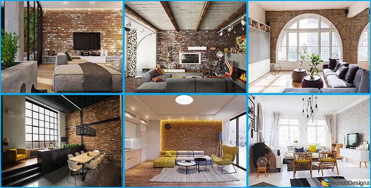 Pareti con mattoni a vista per il salotto 30 idee di for Arredamento d interni idee