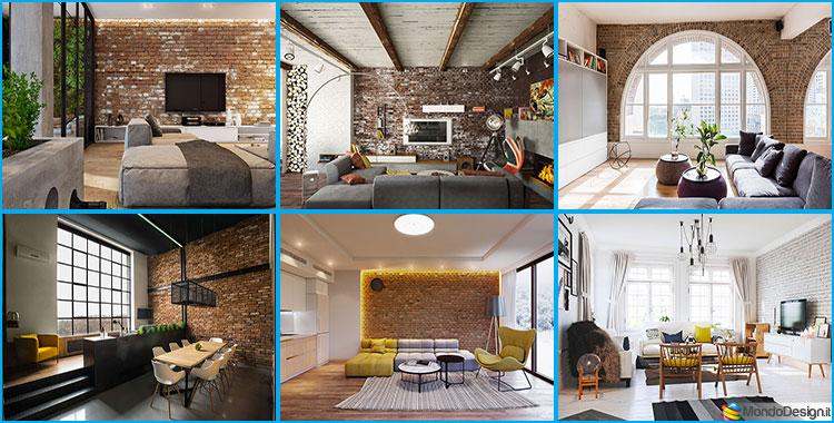 Pareti con mattoni a vista per il salotto 30 idee di for Arredo interni idee