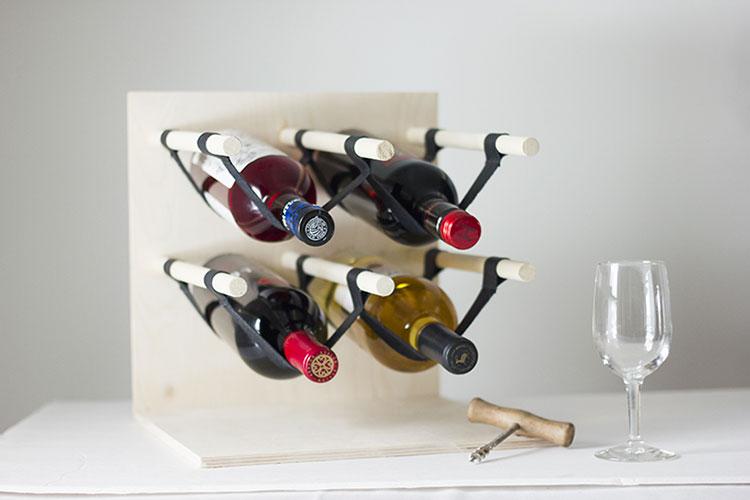 Modello di portabottiglie vino fai da te da costruire n.06
