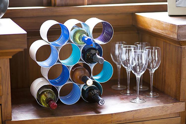 Modello di portabottiglie vino fai da te da costruire n.12
