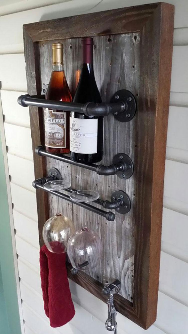 Modello di portabottiglie vino fai da te da costruire n.14