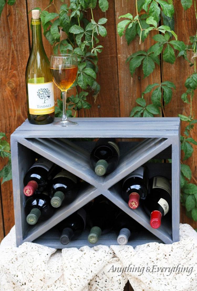 Modello di portabottiglie vino fai da te da costruire n.21