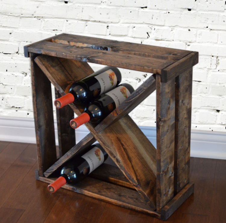 Modello di portabottiglie vino fai da te da costruire n.22