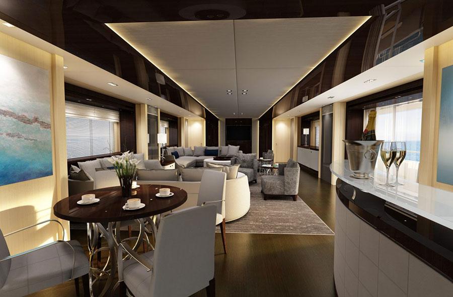 Yacht di lusso interni da sogno per un maestoso 47 metri for Foto salotti moderni arredati