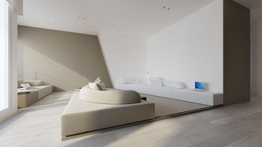 Pareti del soggiorno di colore bianco e grigio n.05