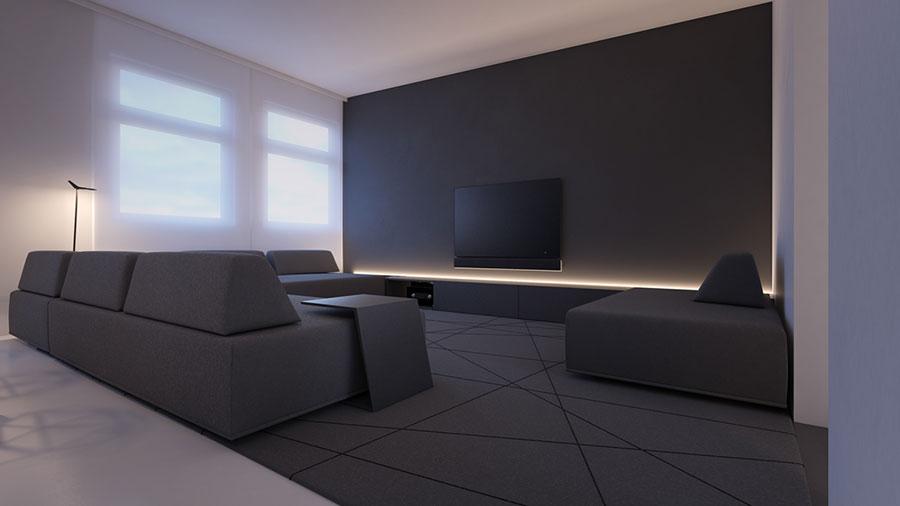 Pareti del soggiorno di colore bianco e nero n.01