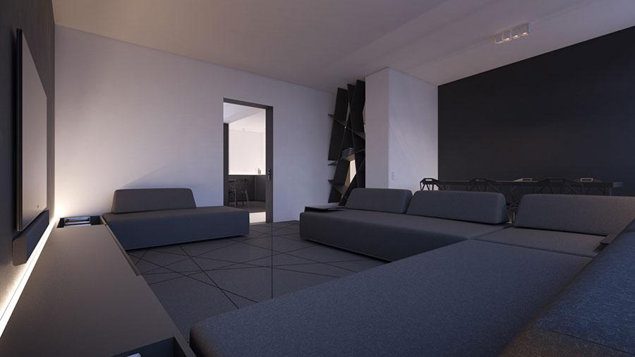 Pareti del soggiorno di colore bianco e nero n.02