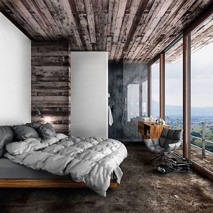 Camera da letto arredata in stile nordico n.03