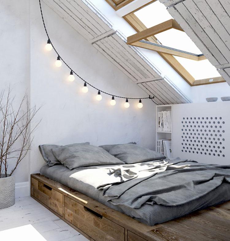 Camera da letto arredata in stile nordico n.10
