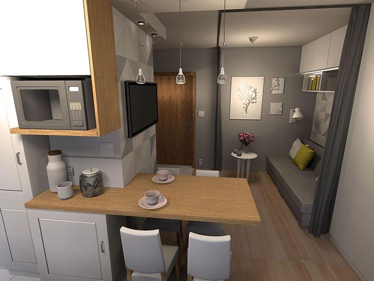 Come arredare una casa di 30 mq 6 progetti di design for Arredare cucina 4 mq