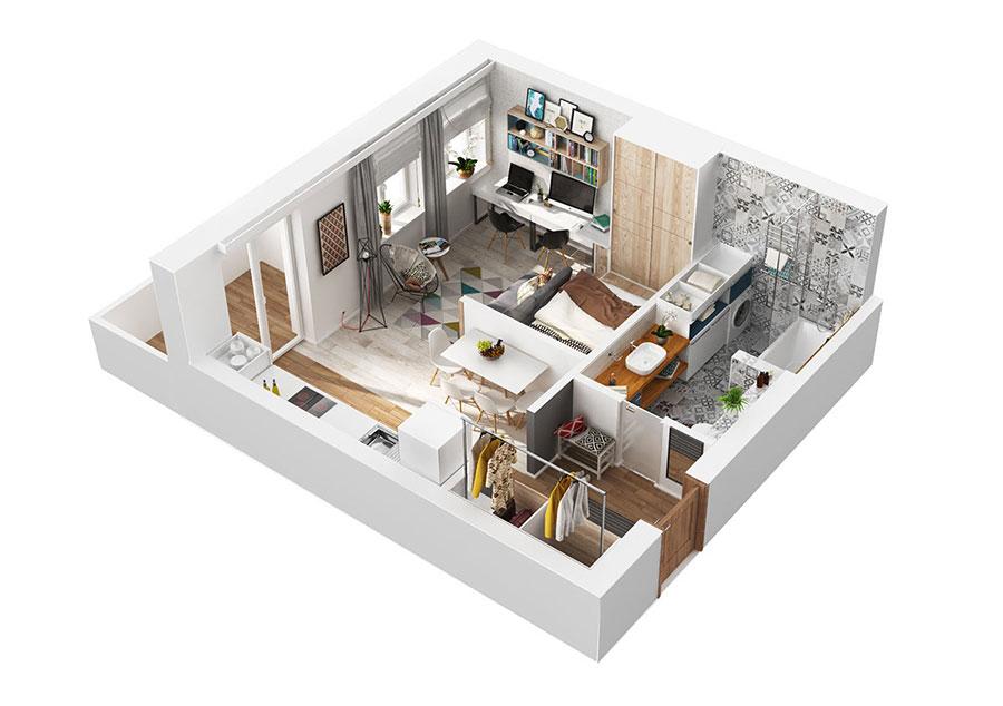 Appartamento di 40 mq con arredi di design n.09
