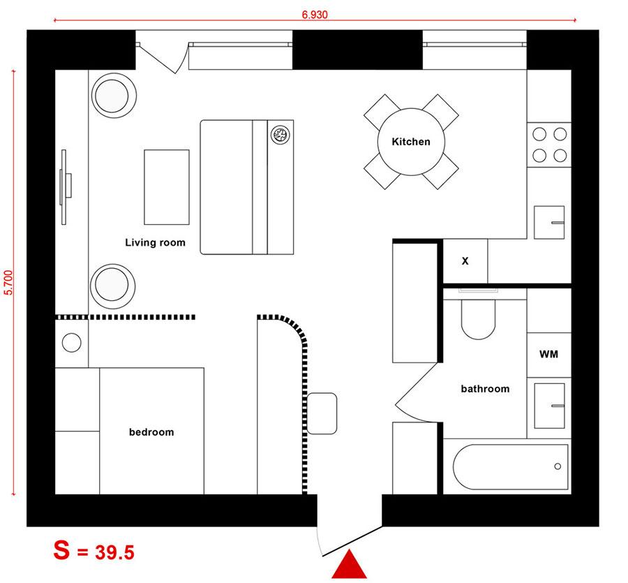 Appartamento di 40 mq con arredi di design n.50