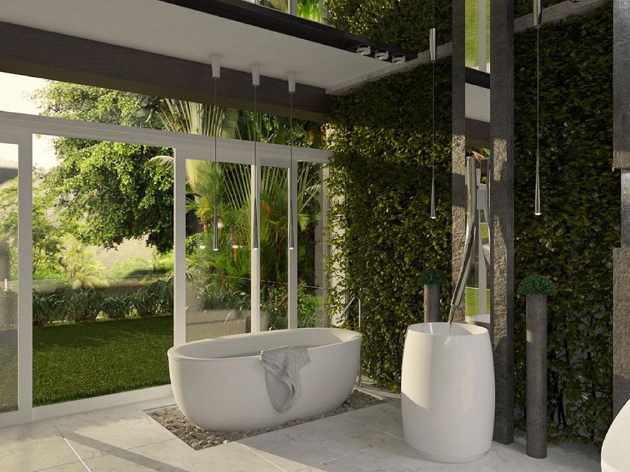 Arredamento per bagno moderno con elementi di design n.01