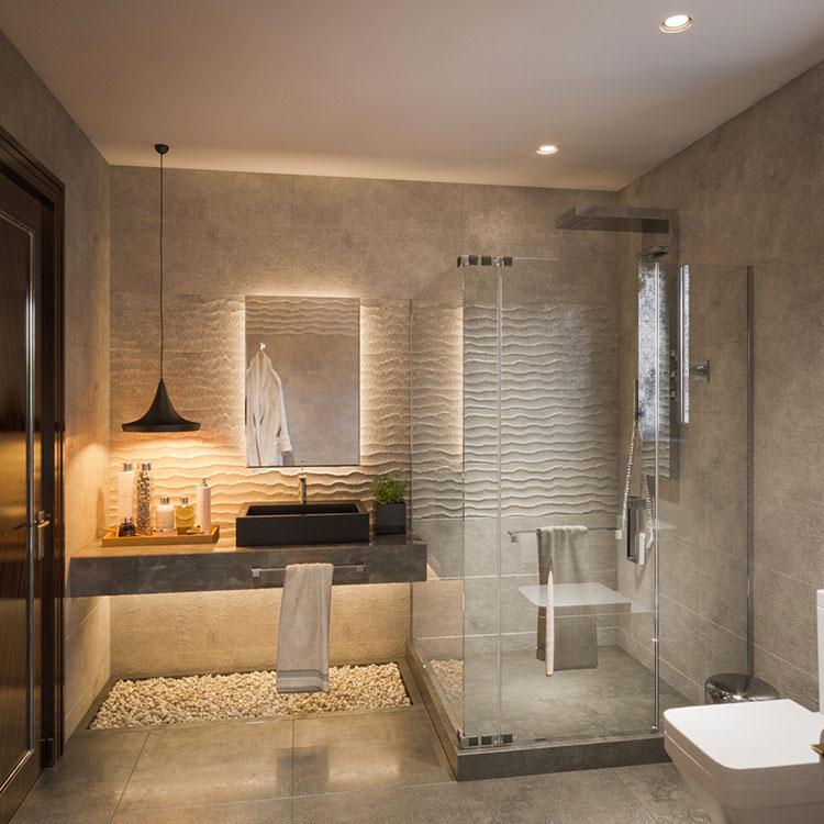25 idee per arredare un bagno moderno con elementi di for Master arredamento interni