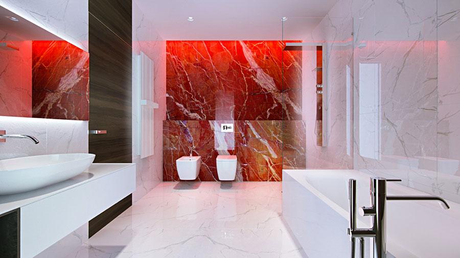 Arredamento per bagno moderno con elementi di design n.03