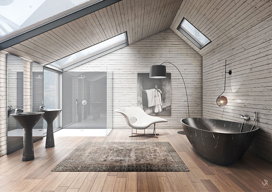 Arredamento per bagno moderno con elementi di design n.06